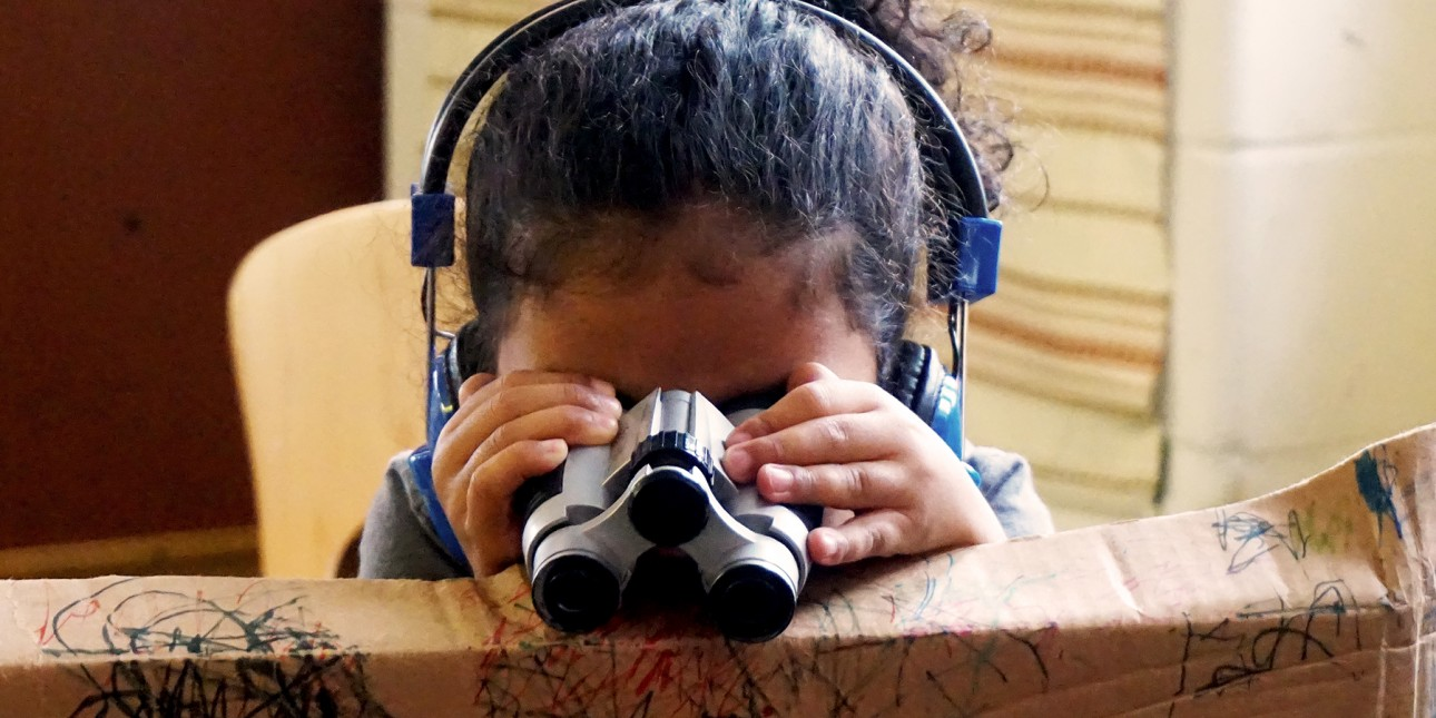 Indoor exploration with binoculars