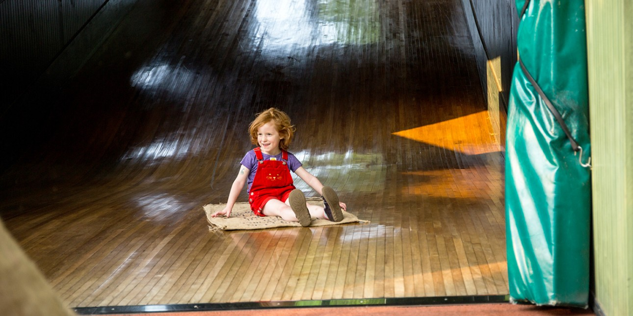 Down the wood slide at Smith Playground