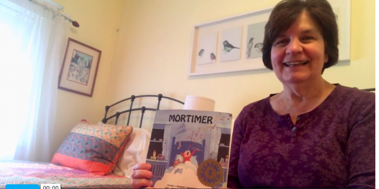 Deb gets ready to read Mortimer