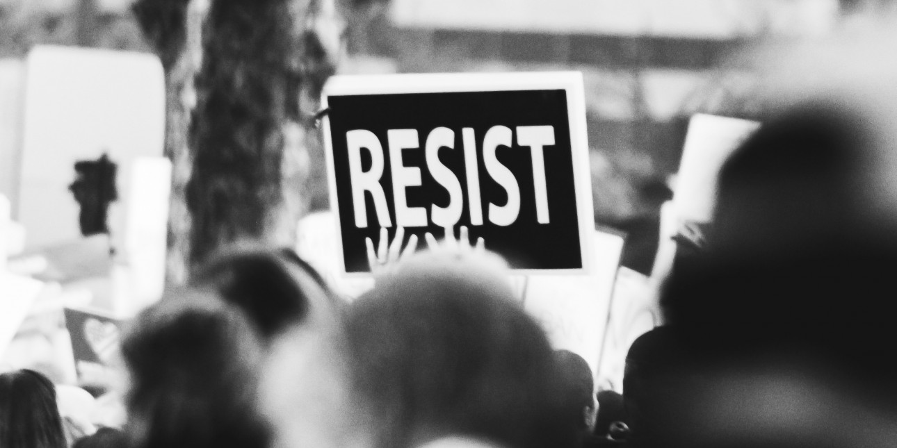 Resist sign at a protest