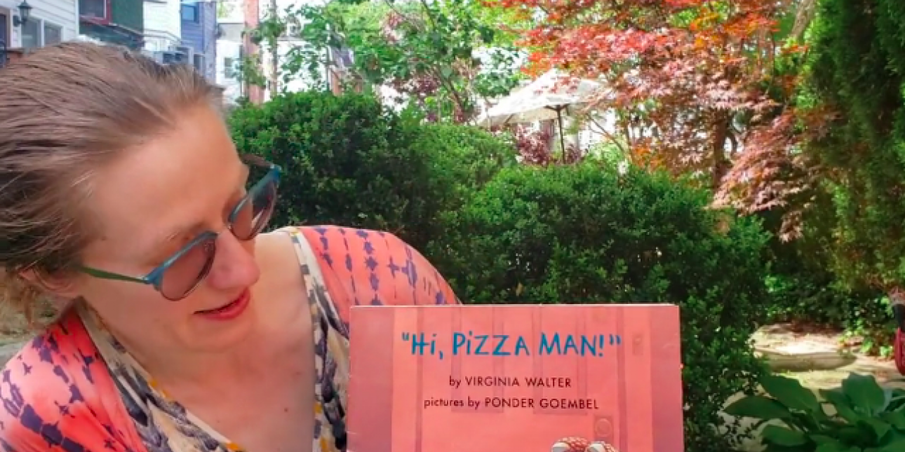 "Julie and book, ""Hi Pizza Man"""