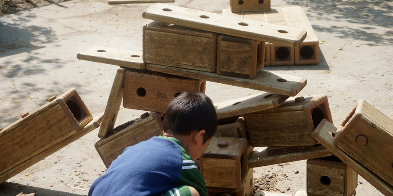 Outdoor building blocks on the nature playground