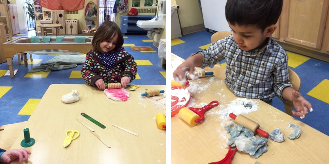 Moonbeams working with play-dough
