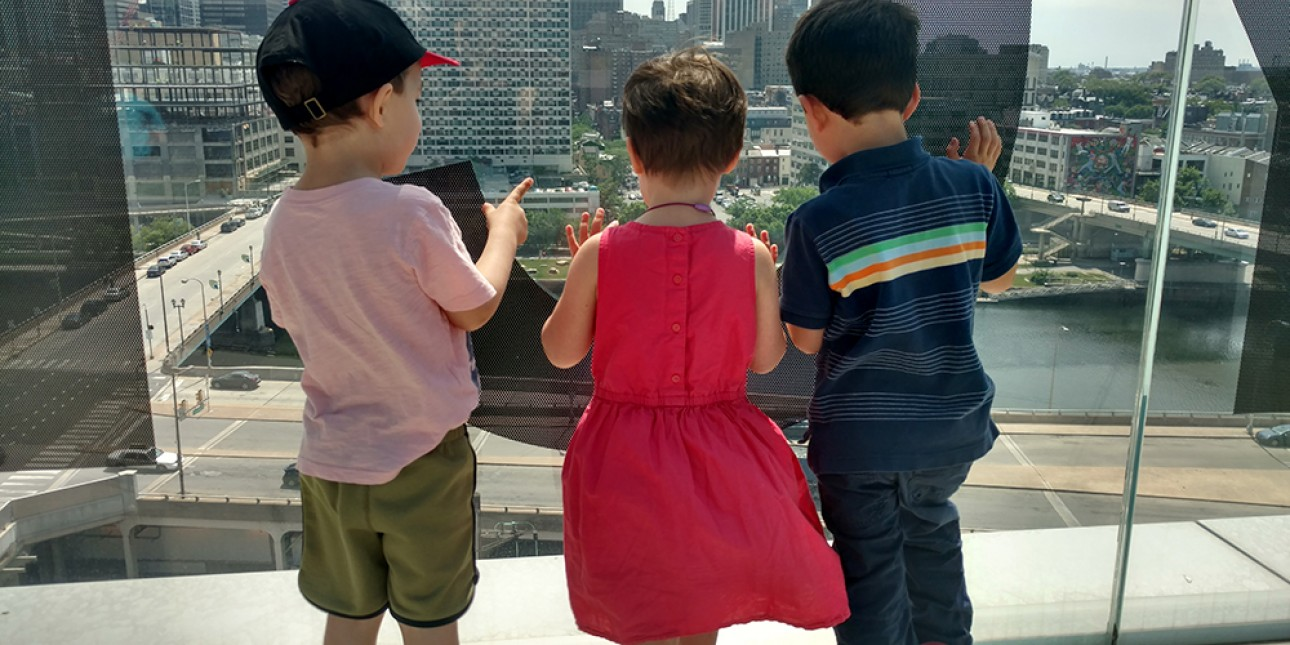 PIC preschoolers explore the buildings in the city