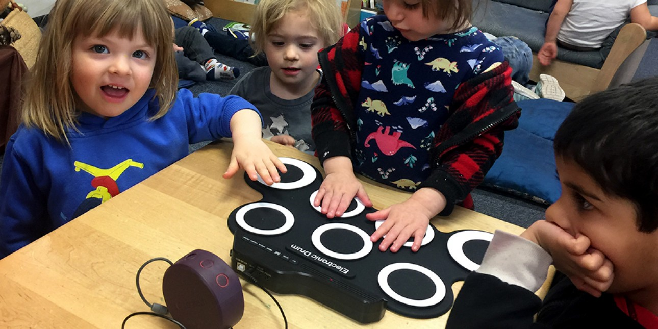 Rainbows study of sound includes a drum pad