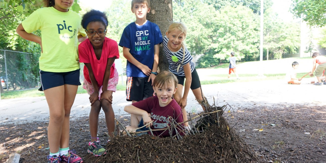 PIC campers create a structure from natural materials